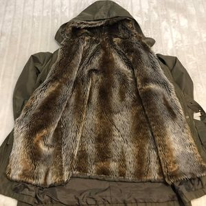 BOGO Free🦋 Olive Green Removable Faux Fur Lined Trench Style Coat